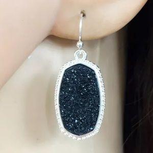 Black/Silver Plated Druzy Stone drop Earrings New